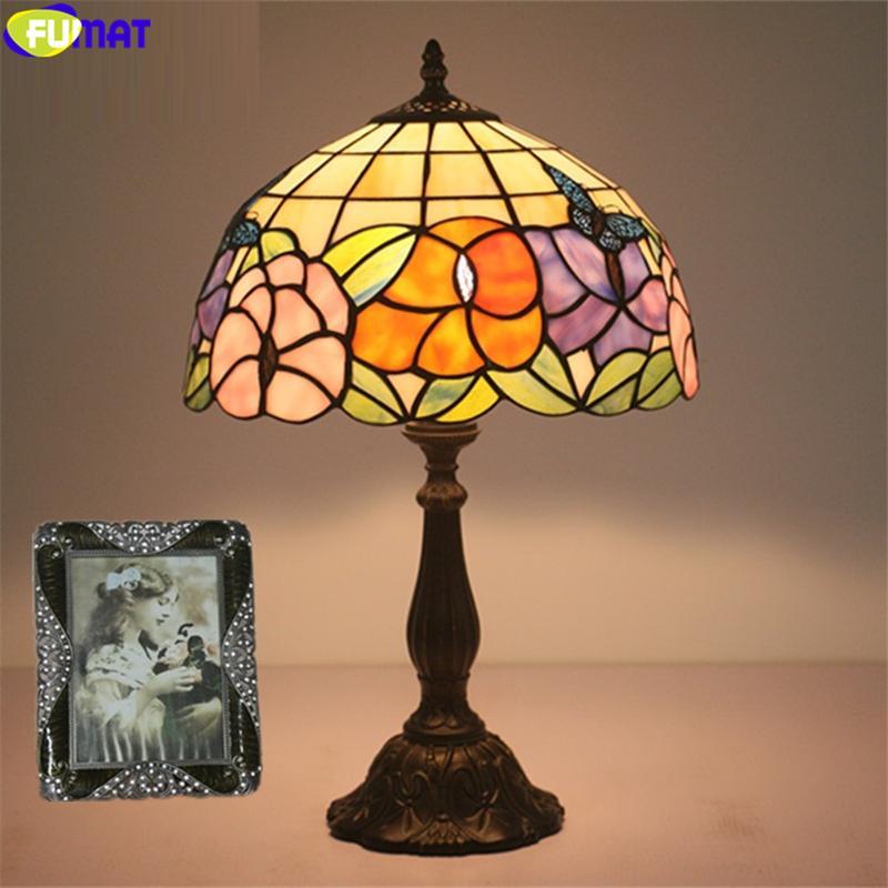ФУМАТ Тиффани розовый синий орхидея настольная лампа бабочка витражи настольная лампа 12 дюймов абажур ремесленного домашнего декора E27 лампы