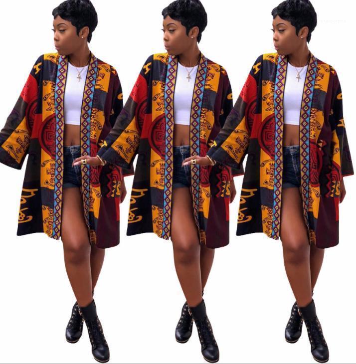 Летний халат тип куртки старинные Флора печати пальто для женщин новая мода средние длинные куртки весна