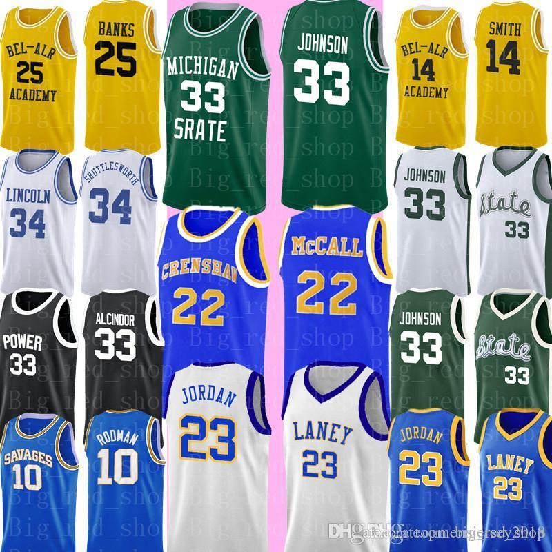 NCAA Michigan State Spartans 33 Earrvin Johnson Green White College 2020 33 Larry Pássaro High School Basketball Jersey