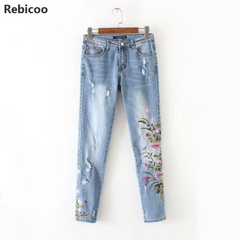 Lace Flower Pants Skinny Denim Jeans Woman Pencil Pants Diamond Beading Patchwork Trousers For Women