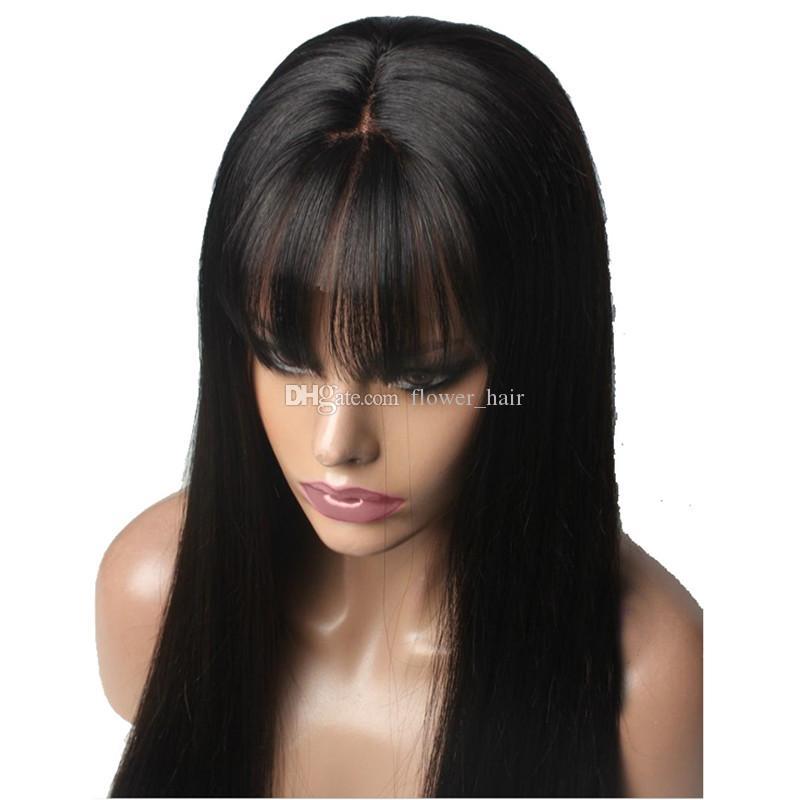 Прямой Парик Фронта Шнурка Перуанский Девственные Волосы Полный Парик с Бахромой Человеческих Волос Полный Кружева Парик С Чёлкой Отбеленные Узлы Для Чернокожих Женщин