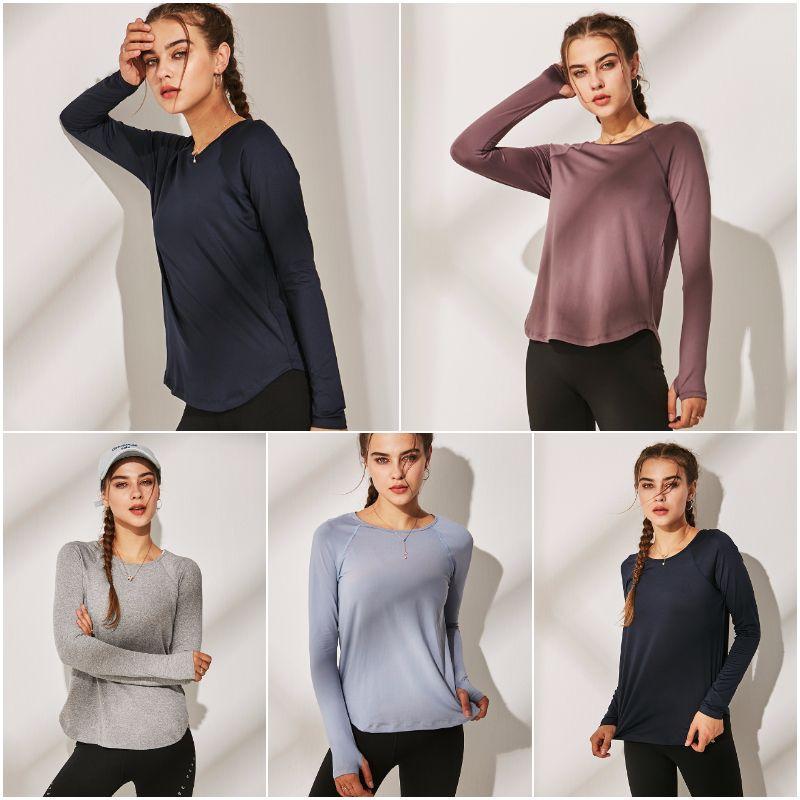 LU-WT188 Frauen Yoga-T-Shirts Mädchen Laufen Langarm Damen Freizeit Yoga Outfits Adult Sportübung Fitness Wear Hemd