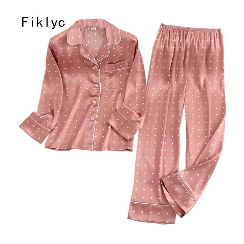 Fiklyc underwear spring / autumn long sleeve & pants women's turn-down satin pajamas sets pizama damska night suits huispak HOT CX200703