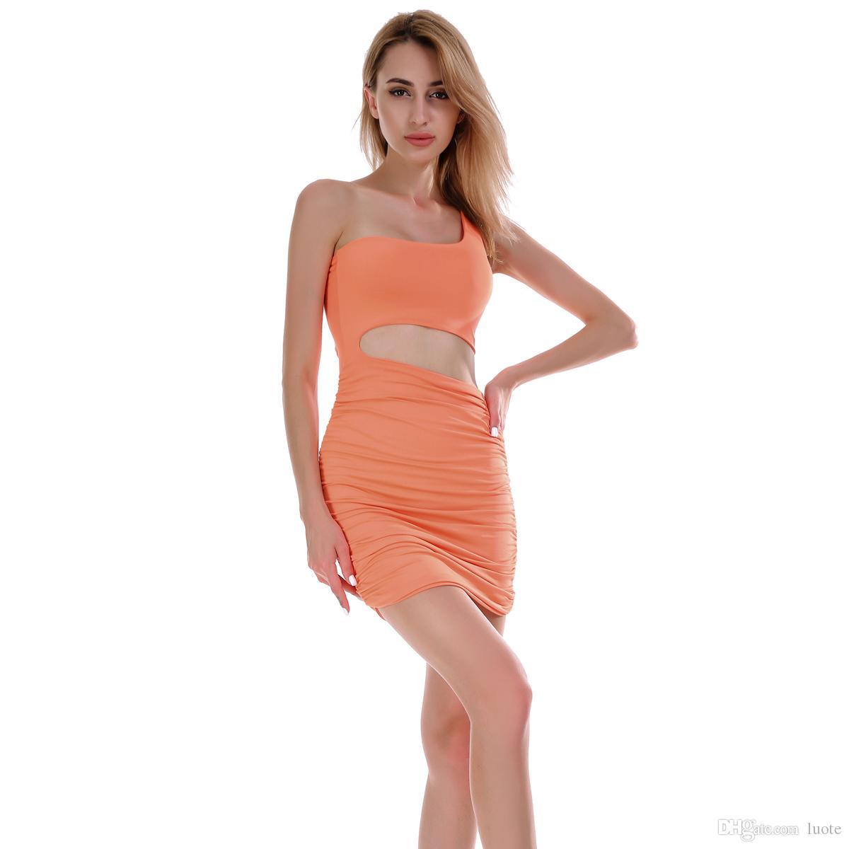Um ombro vestidos de festa Sexy Clube Bodycon vestido de mulher 2019 New mangas Stretchy Casual Magro Enrole Vestido Mini