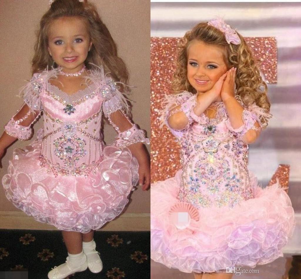 Glitz Toddler Girls's Pageant Dresses Sparkly Crystal Ruffles Skirts Cute Little Flower Girls Dresses Princess Wedding Party Formal Dress