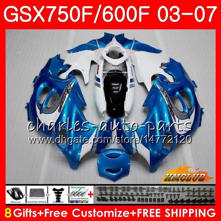 Body Kit Blue Azul para Suzuki Katana GSXF600 GSXF750 03 04 05 06 07 3HC.58 GSX750F GSX600F GSXF 750 600 2003 2004 2005 2006 2007