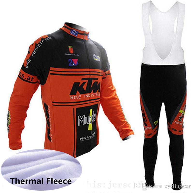 ropa ciclismo KTM 프로 팀 겨울 사이클링 저지 세트 긴 소매 열 양털 자전거 의류 (턱받이) 바지 정장 남자 자전거 의류 Y051313