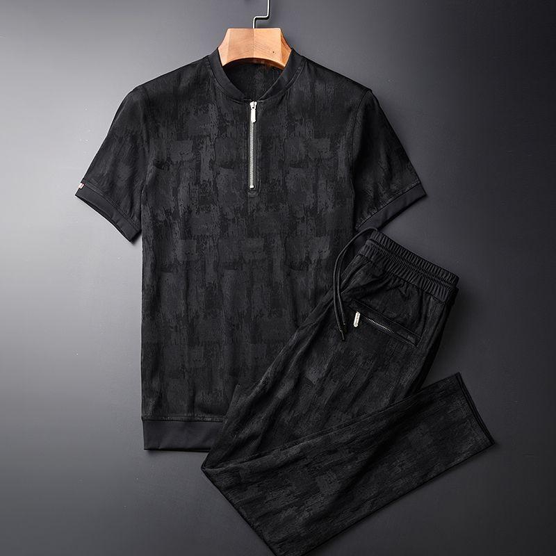 Лето (футболки+брюки) плюс размер 4xl стенд воротник с коротким рукавом мужская мода Slim Fit мужские наборы с брюками
