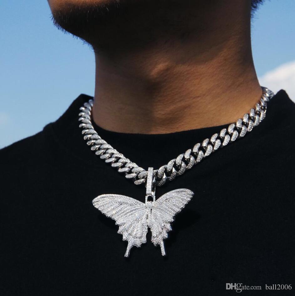 2019 مثلج خارج الحيوان الفراشة الكبيرة قلادة قلادة الفضة الأزرق مطلي رجل الهيب هوب بلينغ المجوهرات هدية بالجملة