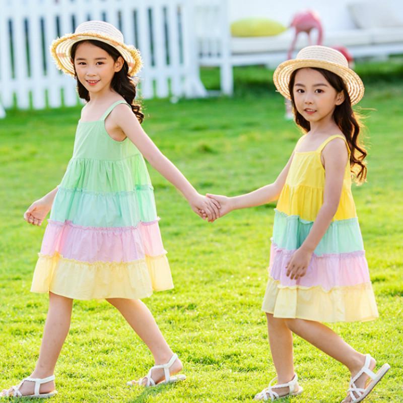 2020 New Verão Meninas bonitos do arco-íris vestido Crianças Pure vestido de algodão Bebés Meninas Camisole Vestidos vestidos das crianças dos retalhos