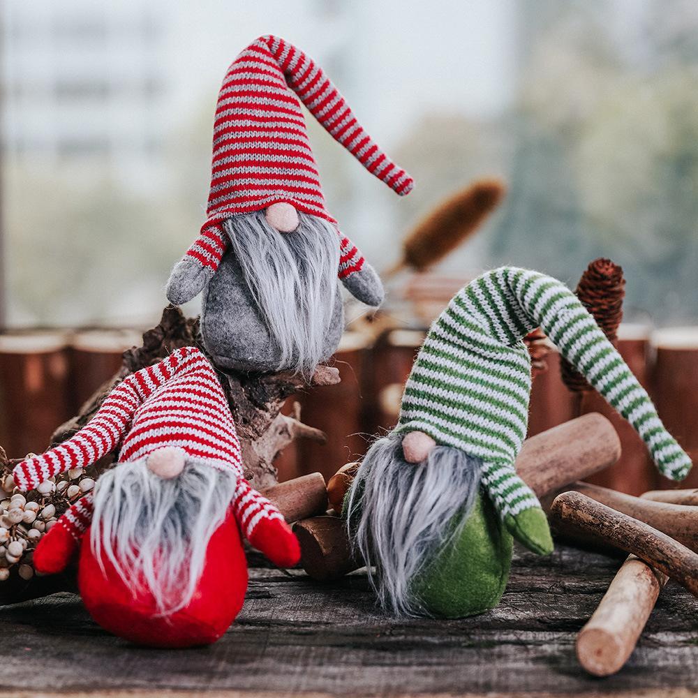 1 pieza del patrón de Navidad sombrero rayado No hace frente al pequeño juguete muñeca Adornos nórdica tierra que Dios Viejo muñecas