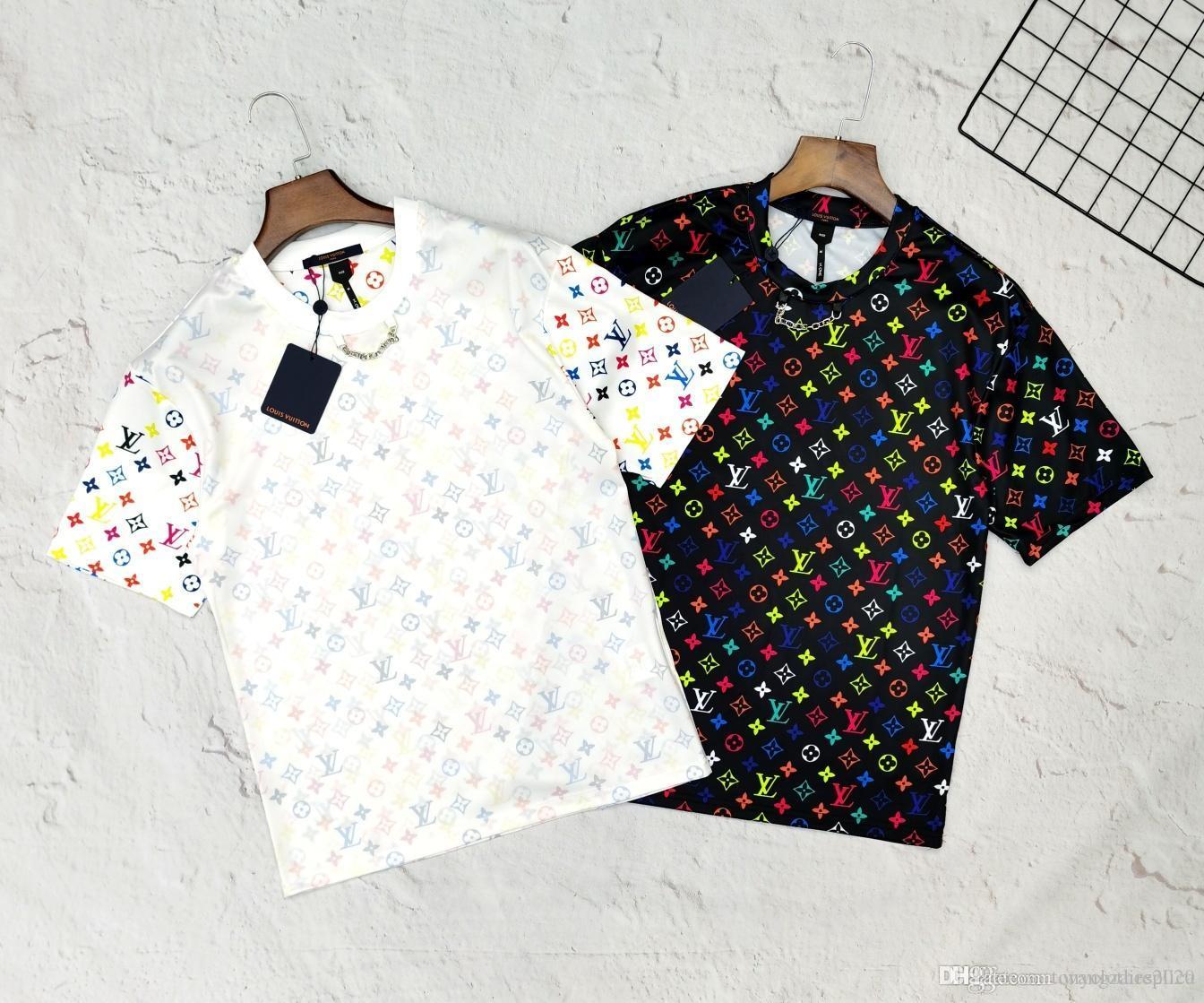 2020 nuovi mens di lusso del progettista marchi di moda donne maglietta vestiti estate sovradimensionato classico abbigliamento ColorfulMonogram camicie casual 5.23