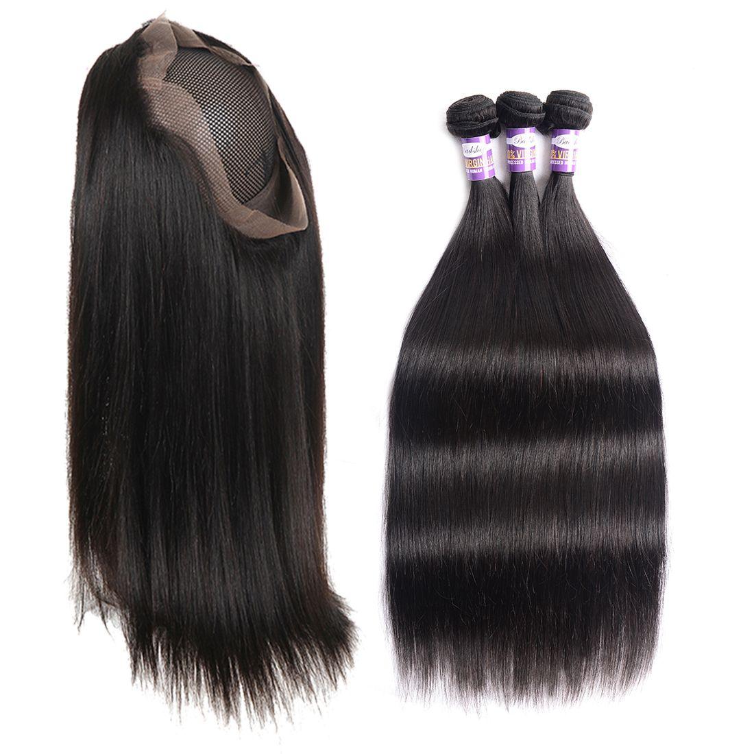 9A 360 кружевное фронтальное закрытие с пучками предварительно выщипанными с детскими волосами бразильские человеческие волосы переплетаются прямые волосы 3 пучка с 360 кружевным фронтом
