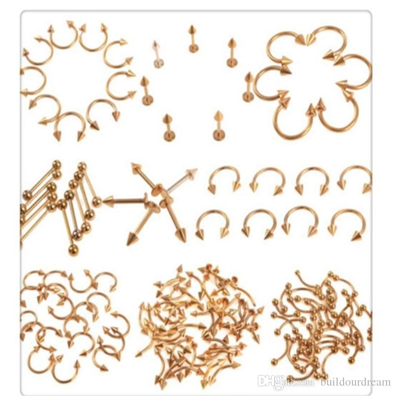 Wholesale Body Jewelry Piercing Kit Ball Nose Rings Mix Gold Stainless Steel Navel Belly Lip Nipple Eyebrow Ear Studs Bar Ring Body Jewelry