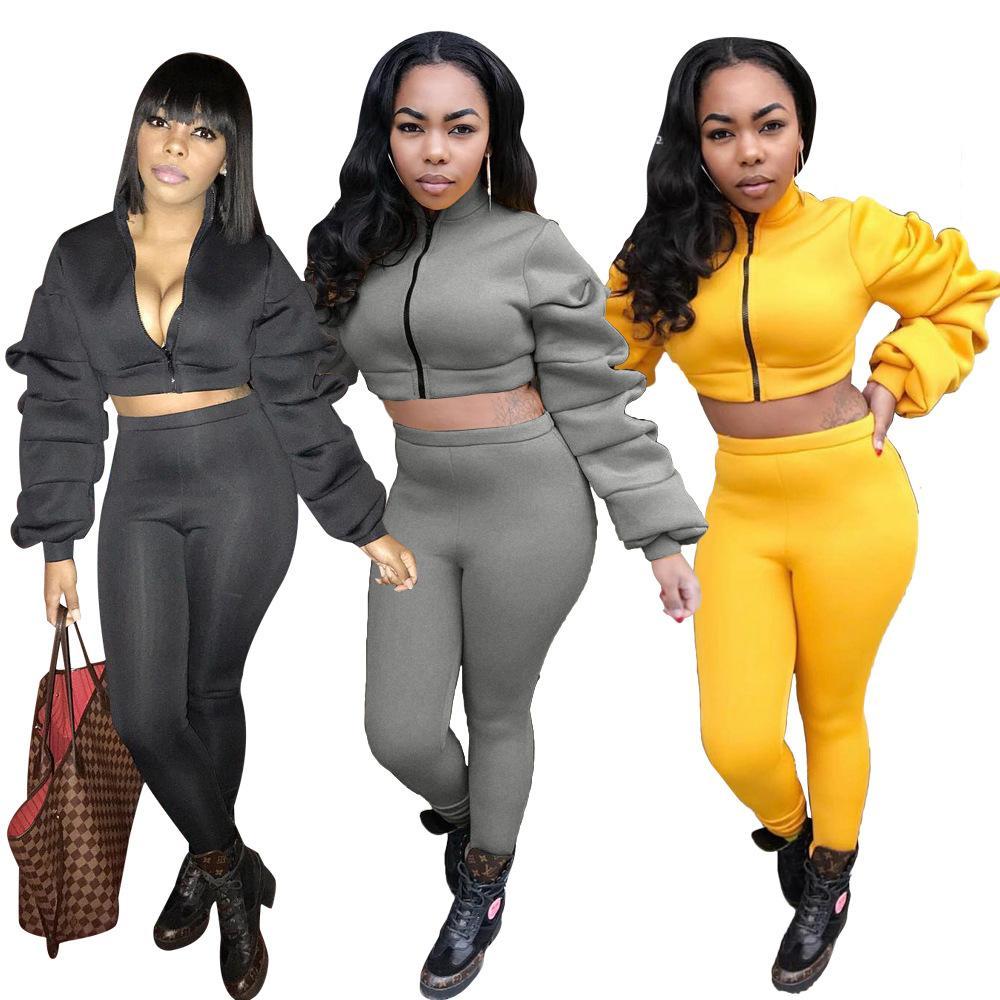 Kadınlar Giyim İki Parça Setler 2 adet kadın seti elbise patlama modelleri Avrupa ve kollu Amerikan moda yığınları İnce düz renk takım elbise