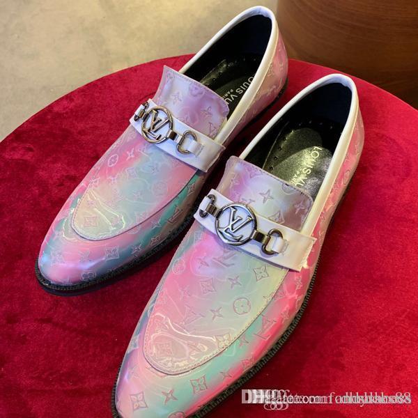 sapatos formais de alta qualidade dos homens de luxo vermelho-sola casuais sapatos de couro rodada cap toe dedo do pé unha de fundo plano sneakers negócios 38-45