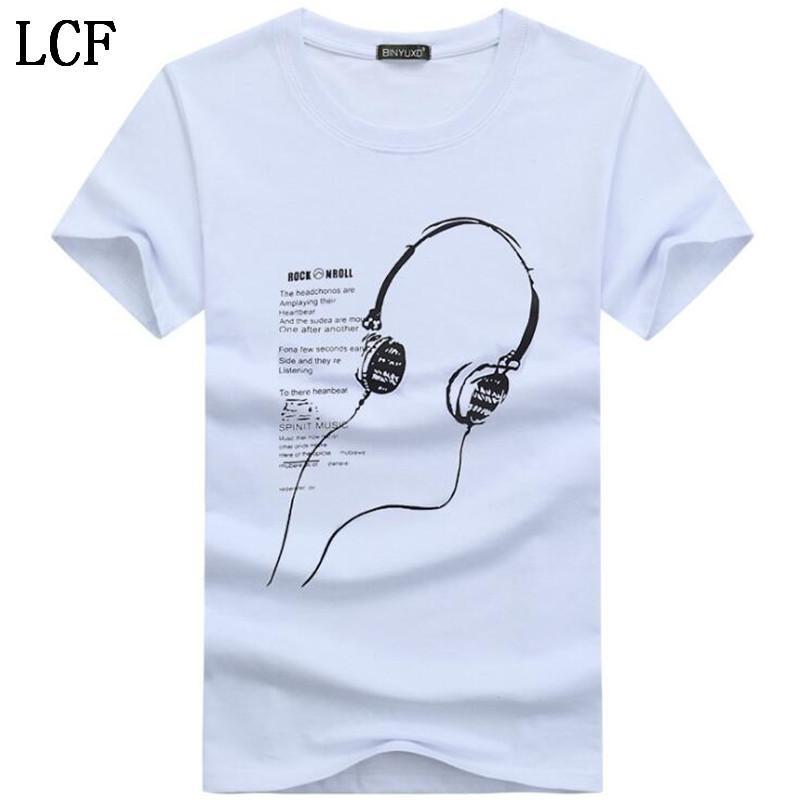 Мужские футболки лето с коротким рукавом футболки мужчин тенниска Простой креативный дизайн печать хлопок Мужчины Марка футболки HC-5