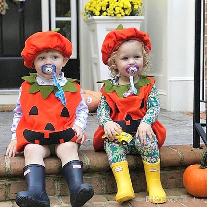 Хэллоуин младенца тыква ползунка новорожденного милый детский костюм без рукавов комбинезон ins тыква комбинезон с шляпой младенческой детской дизайнерской одежды