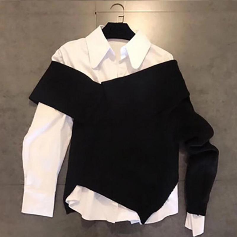 DEAT 2020 Spring Long Sleeve Irregular White Blouse Top Black Knitting Sweater Women Two Piece Set Outfits MG173 VJZA
