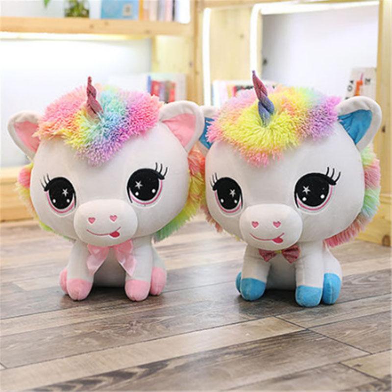 Cute rainbow unicorn stuffed toy big eyes little monster plush animal toy soft girl valentine gift
