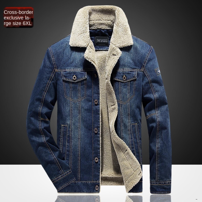 hommes concepteur grande taille denim casual jeunesse, plus manteau de veste chaude de velours outillage militaire en plein air Menh