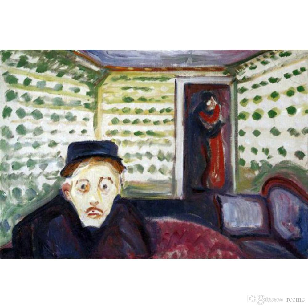 Edvard Munch pinturas Ciúme II arte moderna óleo sobre tela Handmade art Gift