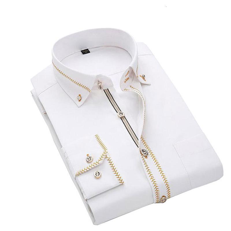 Solid Slim Camicia Casual nozze degli uomini di affari Jeetoo uomini maniche Long abito camicette lavoro abbigliamento formale maschile smoking Plus Size C19041702