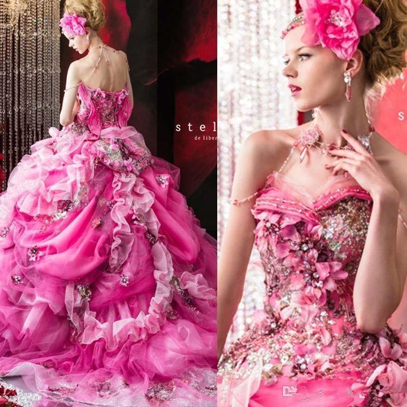 Stella De Libero Роскошные свадебные платья оборками Аппликации Цветы Кристалл зашнуровать назад Свадебные платья шарика длины пола Урожай свадебное платье