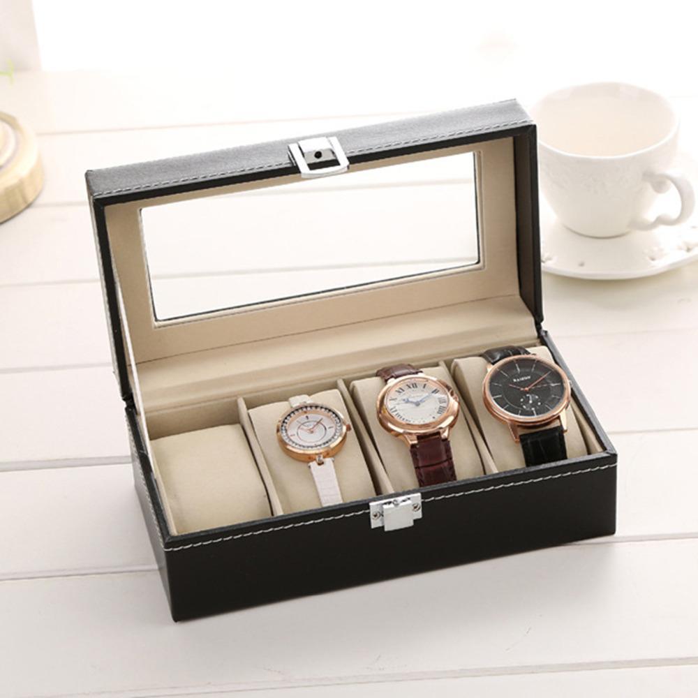 """Cuero de la PU 4 Rejilla joyería exhibición del reloj de almacenamiento Cajas de regalo del rectángulo Negro 20,5 mm (6/8 """") x 10,5 cm (4 1/8"""") x 8 cm (3 1/8"""" ), 1Piece"""
