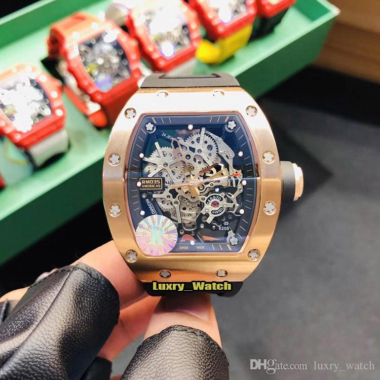 R Top version RM 035 AMERICA5 Rose Gold Steel Case Skeleton Dial Japan NH Automatic RM035 Mens Watch Sapphire Rubber Sport Designer Watches