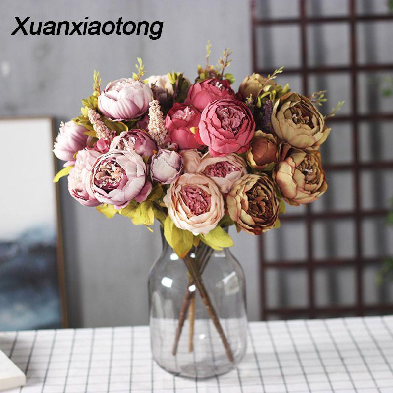 11/13 헤드 붉은 모란 인공 꽃 꽃다발 블루 화이트 핑크 옐로우 모란 가짜 꽃 홈 장식 웨딩 테이블 장식