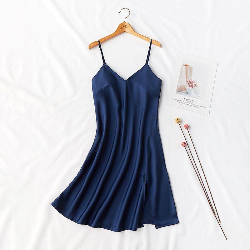 Спагетти ремень Nightdress сексуальных женщин сатин Intimate Lingerie пижамы Silky Nightgown Кимоно Robe платье Повседневный Homewear