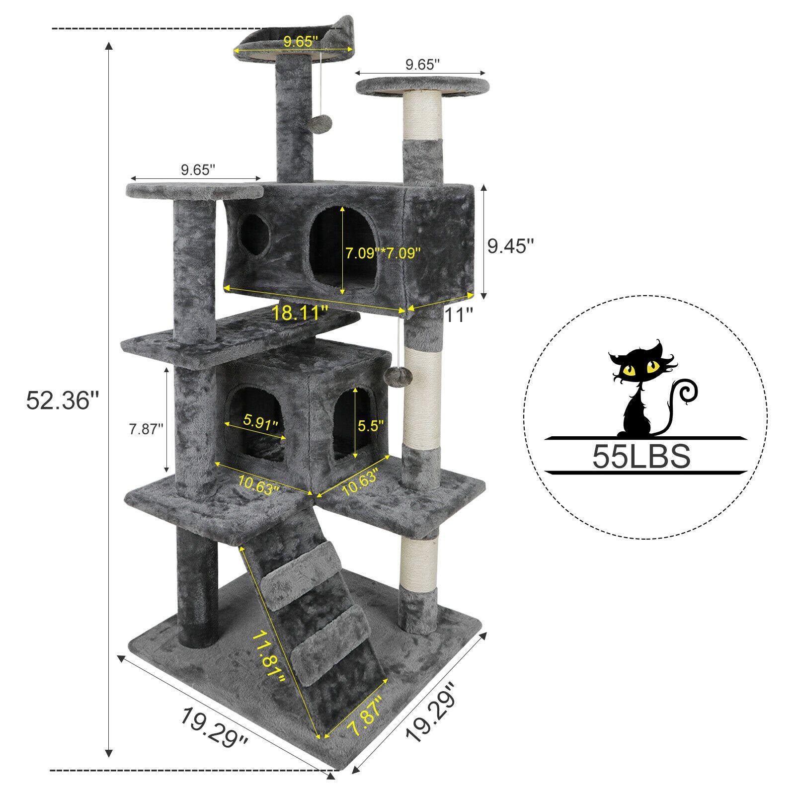 """52 """"القط شجرة آخر برج الحيوانات الأليفة كيتي الأثاث مع الخدش المشاركات سلالم"""