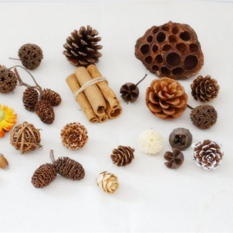 20 Pcs Natural Dried Flowers Xmas Pine Cone Acorn Artificial Home Room Decor US