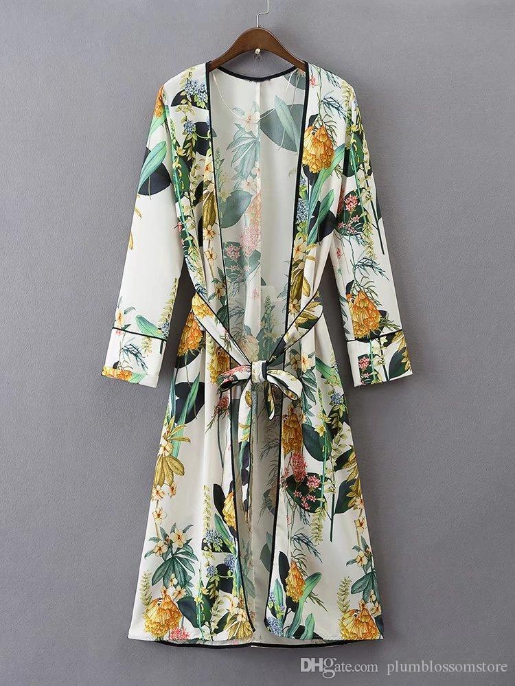 패션 꽃 기모노 블라우스 셔츠 여성 핫 기모노 일본어 롱 가디건 여름 보헤미안 해변 벨트 띠 캐주얼 블라우스를 분할 인쇄