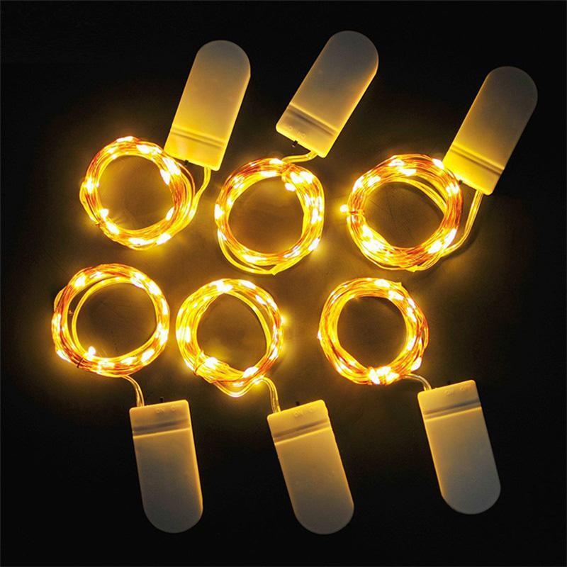 Pisca-Pisca LED 1M 2M 3M Copper Sliver fio Luzes da bateria férias Fada Luz Cordas Multi Cores para o casamento decoração festa de Natal