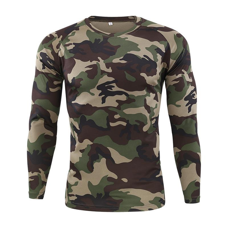 Gym Shirt Men's Spring Autumn Outdoor Camouflage Long Sleeve Tee Men Quick Dry Tight Base Layer Sport Hunting Running T-Shirts