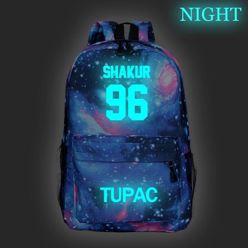 Tupac 2Pac Luminous Backpack School Bag Fashion New Pattern Tupac 2Pac Schoolbag Student Boys Girls Rucksack