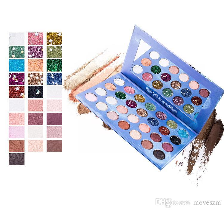 2019 New ArrivalBeautiful Witch Mermaid Eyeshadow Palette 28 Color Blue Starry Sky Shimmer Glitter Eye Shadow Plate Powder Matte Eyeshadow