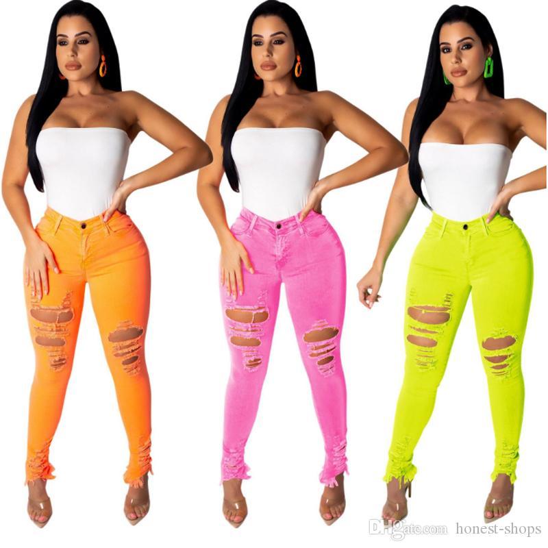 Nuevo de la manera atractiva de las mujeres del lápiz del agujero lápiz largo pantalones elásticos de los pantalones vaqueros de los pantalones largos frontal con cremallera pantalones de cintura alta