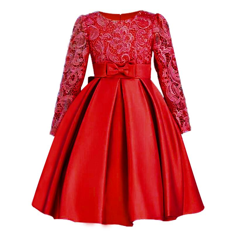 Christmasgirls Dresses Long Sleeve Bud Silk Bowknot Clothes Wedding Party Dress For Girl Children's Princess Dresses Y19061501