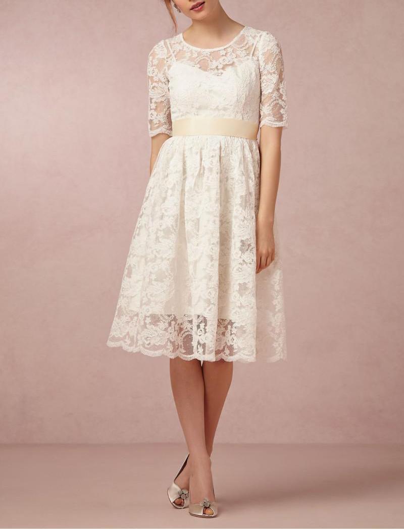Setwell Scoop A-Line Beach Reee Длина короткая свадебное платье половина рукава кружева тюль свадебное платье с поясом