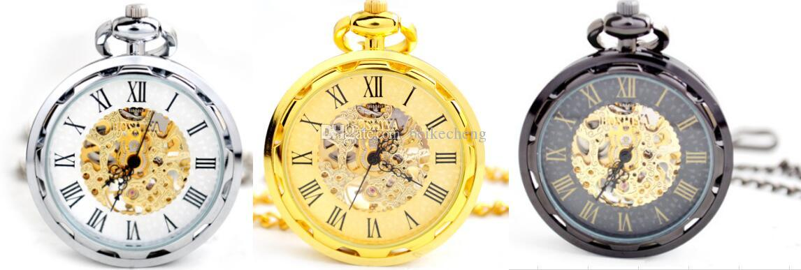 Wholesale 20pcs/lot Men perspective window tungsten steel hollow mechanical watches mechanical pocket watch PW131