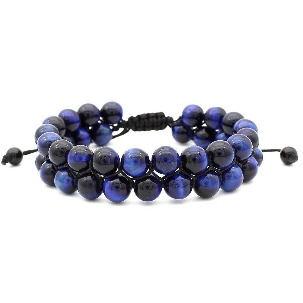 Dupla Camada Pulseiras Olho de Tigre Lava Rock Azul Vermelho Essencial Pulseira 8mm Cura Natural Pedra Beads Bangle Jóias Ajustável