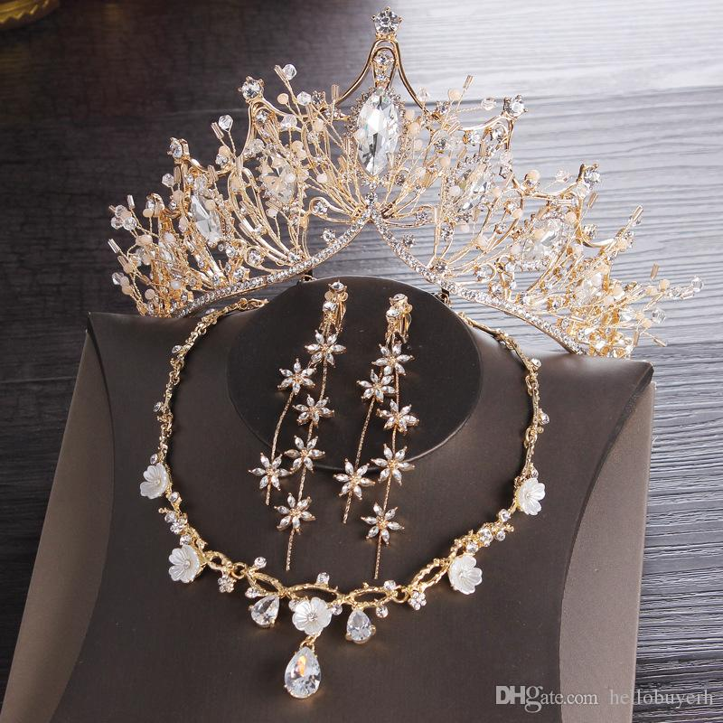 Gold Bridal crowns Tiaras Hair Headpiece Necklace Earrings Accessories Wedding Jewelry Sets cheap price fashion style bride 3 Pieces