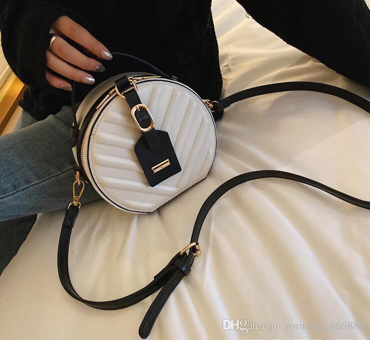 2019 nouveau sac à main en cuir imprimé petit sac rond sac à bandoulière rétro mini de marée sac de maquillage
