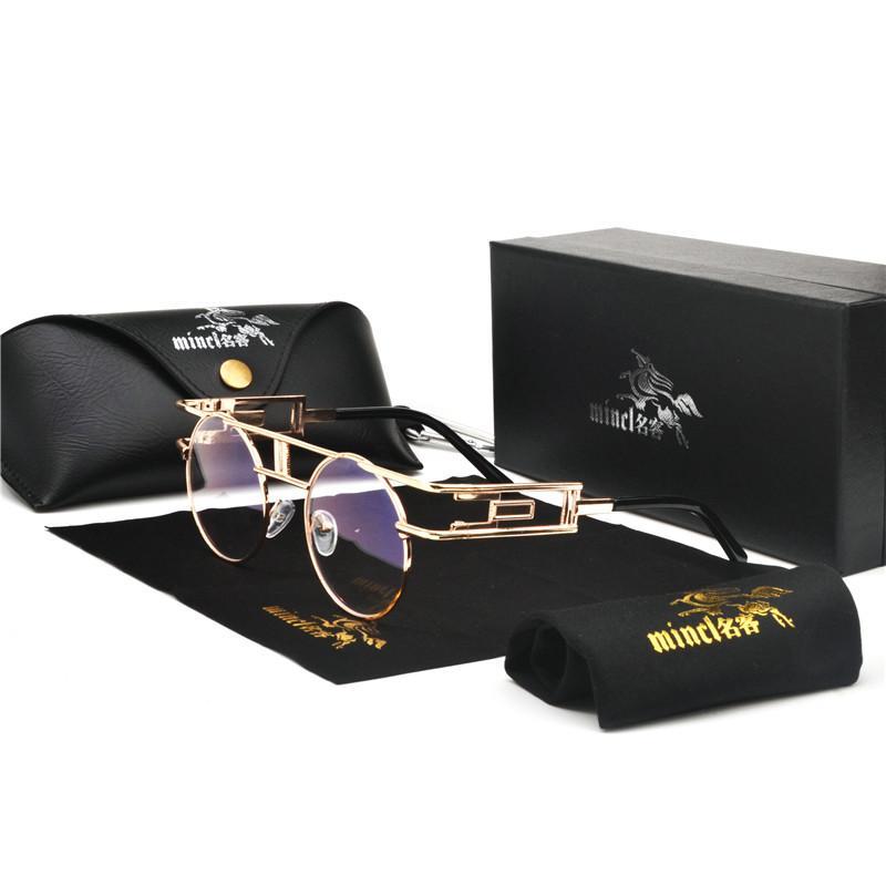 MINCL / Fashion Driving Sonnenbrille Frauen Männer Winddicht Retro Runde Metall Sonnenbrille männlich UV400 klare linse Punk Goggles FML