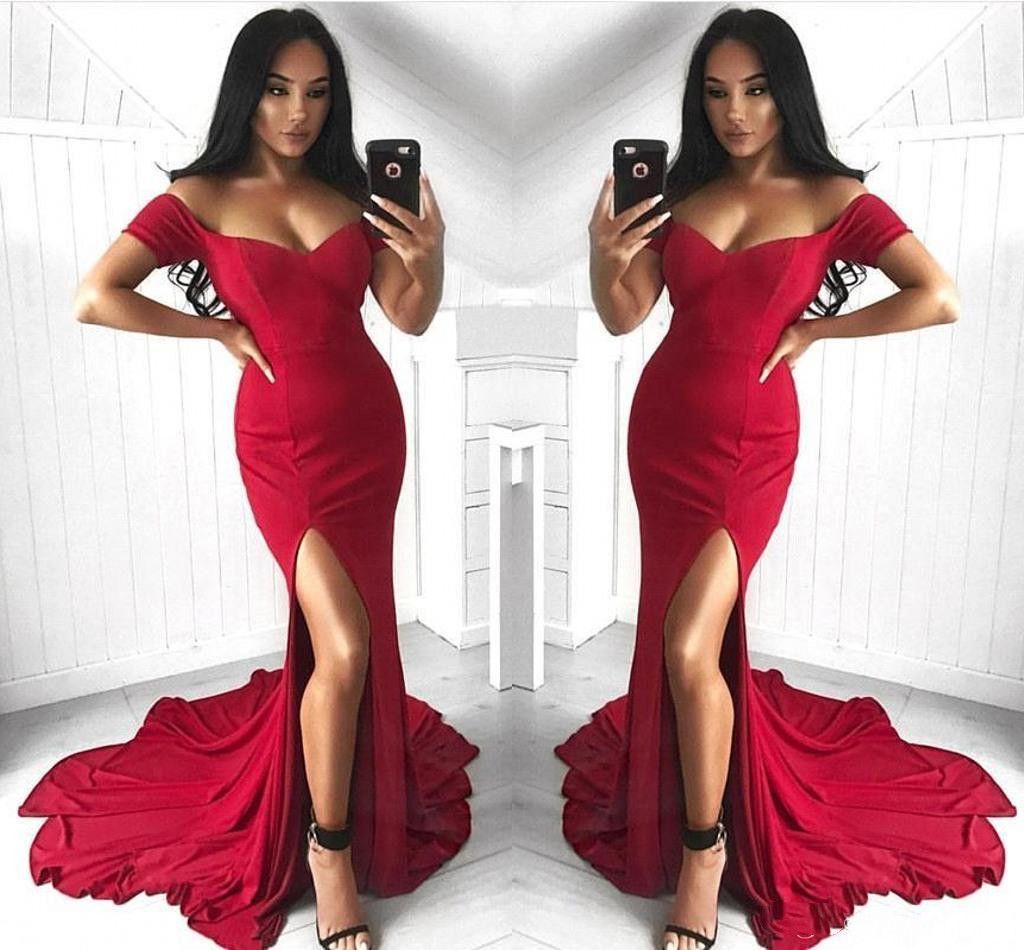 2019 robes de bal sexy sirène de bal d'étudiants fendues rouges à manches courtes en satin longueur au sol longueur robes de soirée