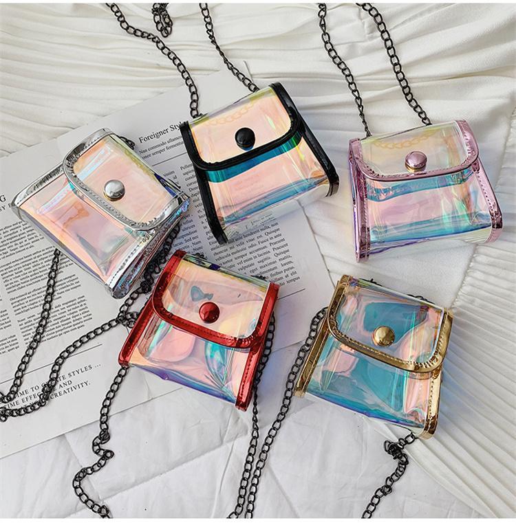 Дети Мини-кошелек сумка 2019 Симпатичные Лазерная Crossbody мешки плеча для малышей девушки принцессы Сумка щитка Цепь сцепления сумка ELE331