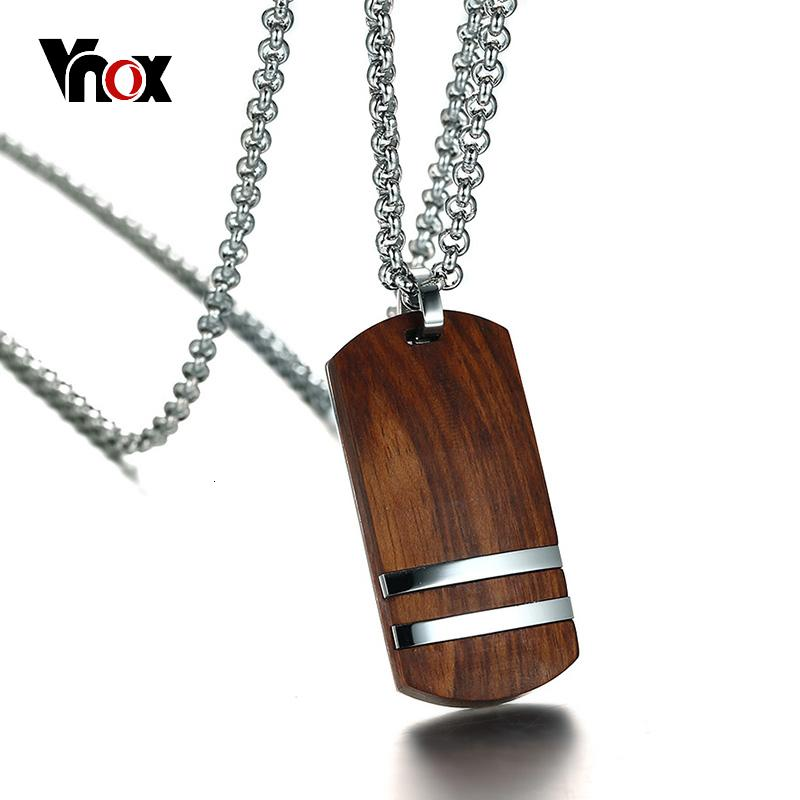 """Vnox Top Rosewood Men Necklace Unique Qualified Wooden Pendants & Necklaces Stainless Steel Jewelry Adjustable Chain 22-24"""""""